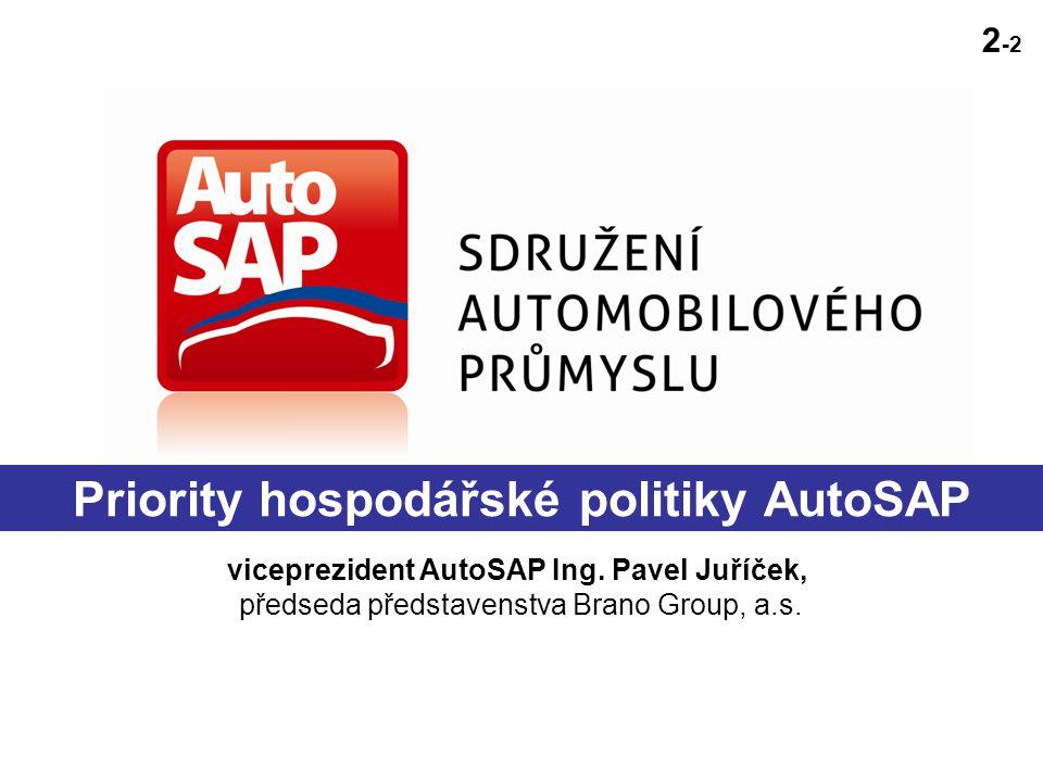 Priority hospodářské politiky AutoSAP viceprezident AutoSAP Ing.