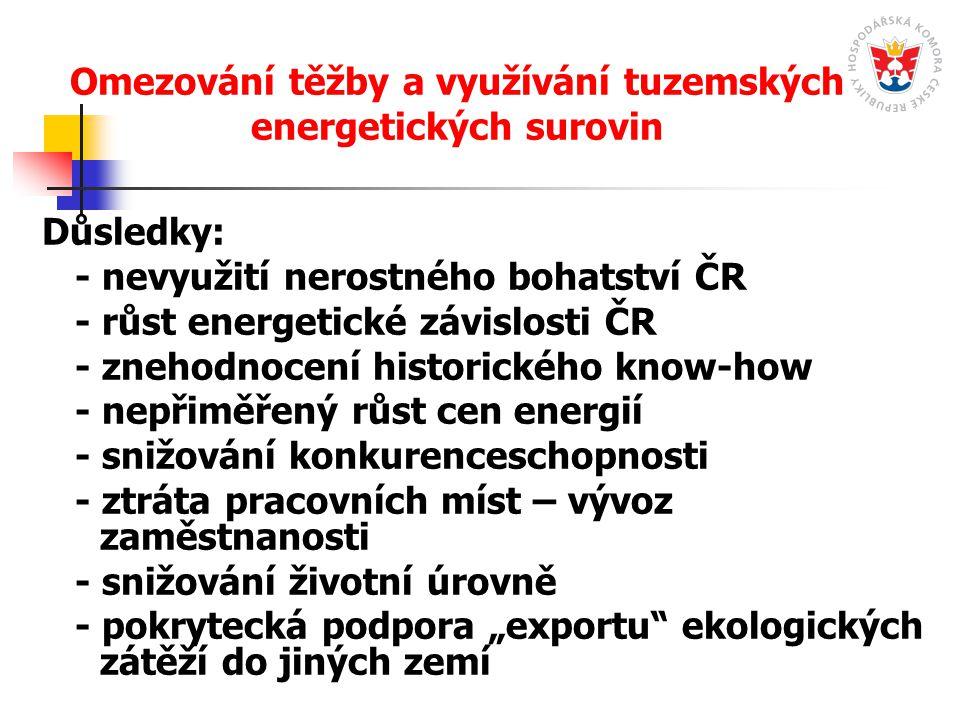 Omezování těžby a využívání tuzemských energetických surovin Důsledky: - nevyužití nerostného bohatství ČR - růst energetické závislosti ČR - znehodno