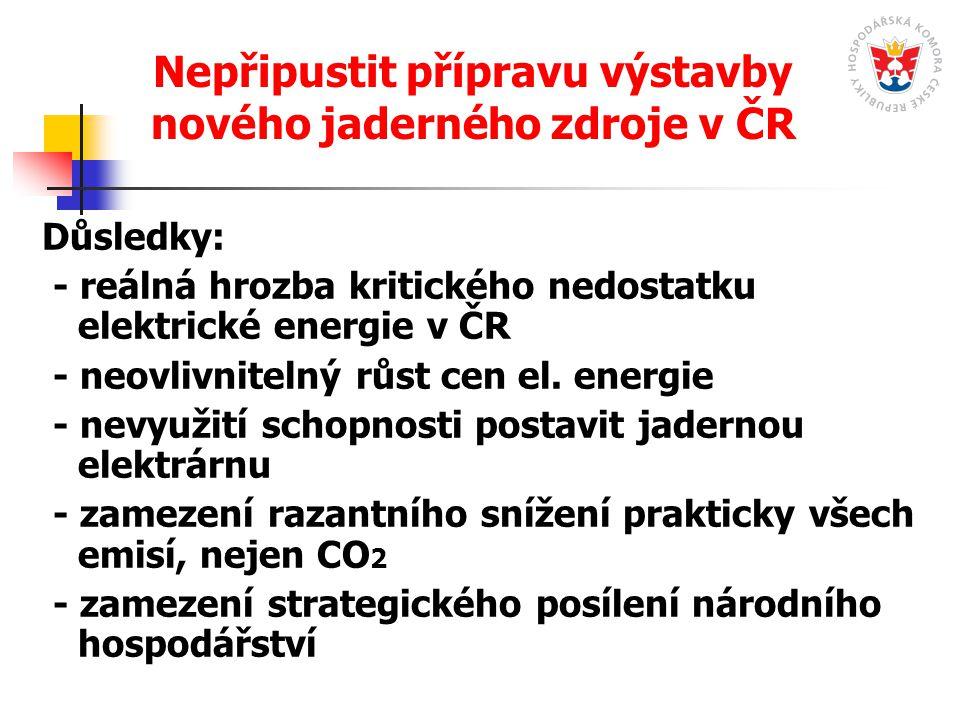 Nepřipustit přípravu výstavby nového jaderného zdroje v ČR Důsledky: - reálná hrozba kritického nedostatku elektrické energie v ČR - neovlivnitelný rů