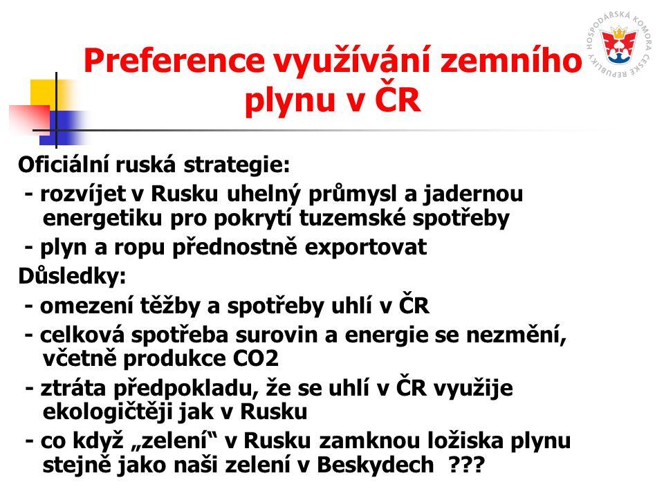 Preference využívání zemního plynu v ČR Oficiální ruská strategie: - rozvíjet v Rusku uhelný průmysl a jadernou energetiku pro pokrytí tuzemské spotře