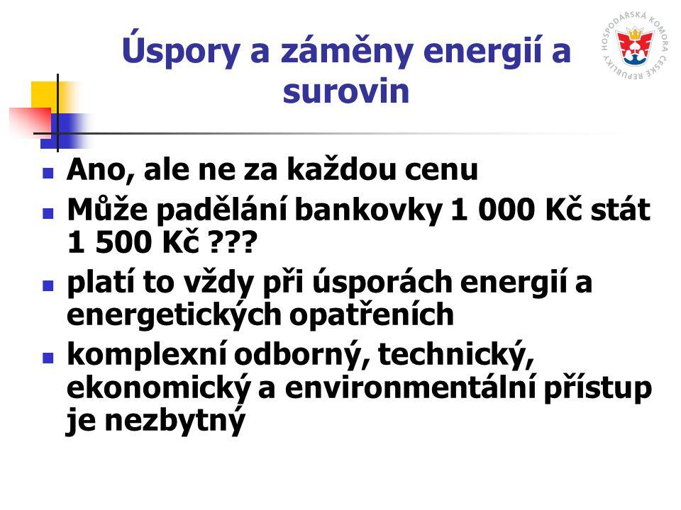 Úspory a záměny energií a surovin Ano, ale ne za každou cenu Může padělání bankovky 1 000 Kč stát 1 500 Kč ??? platí to vždy při úsporách energií a en