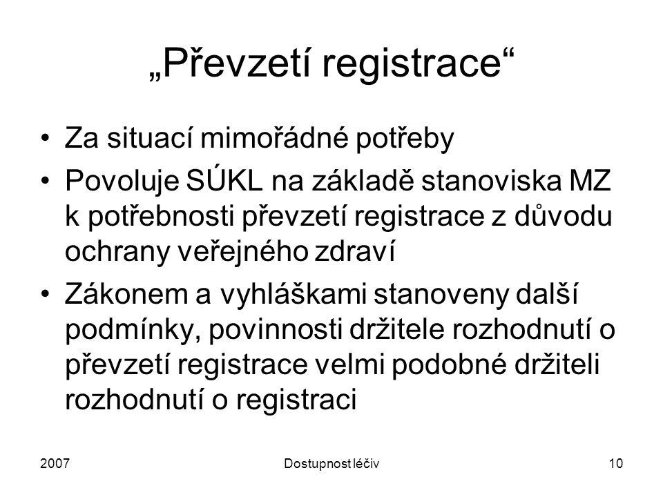 """2007Dostupnost léčiv11 """"Protiteroristická opatření MZ může při šíření patogenních agens, toxinů, chemických látek nebo radiační nehodě dočasně povolit distribuci, výdej a používání neregistrovaného přípravku, nebo neregistrované použití registrovaného přípravku."""