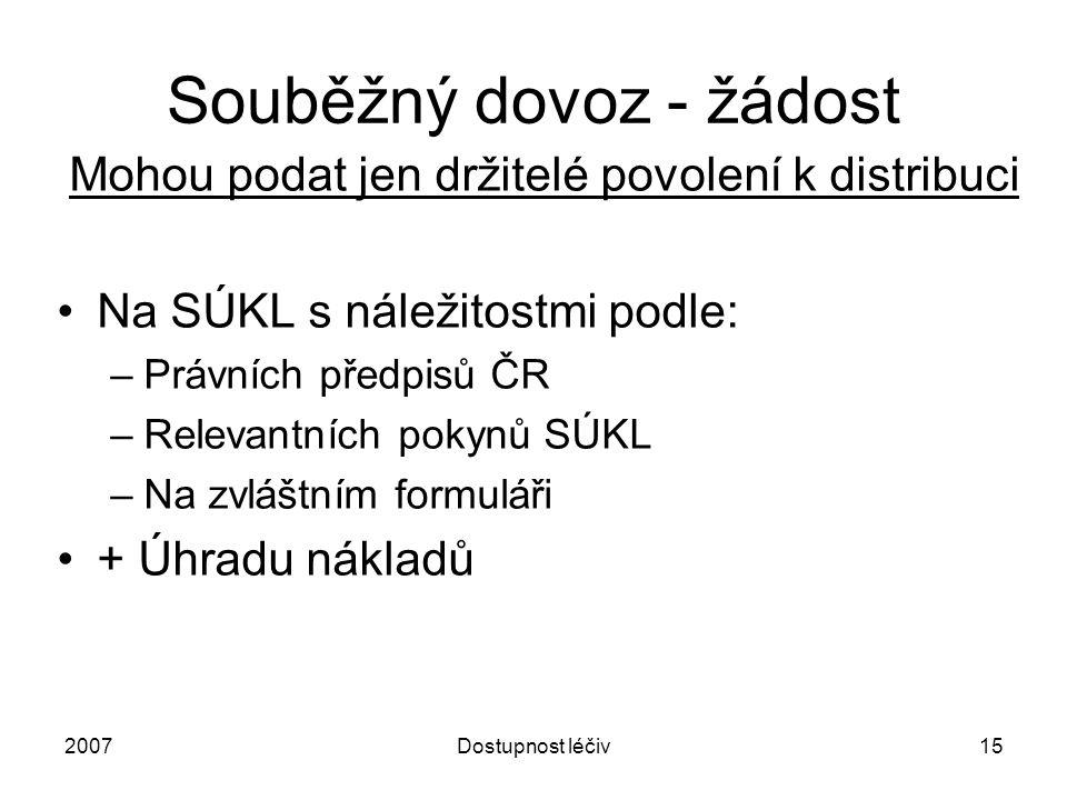 2007Dostupnost léčiv15 Souběžný dovoz - žádost Mohou podat jen držitelé povolení k distribuci Na SÚKL s náležitostmi podle: –Právních předpisů ČR –Rel