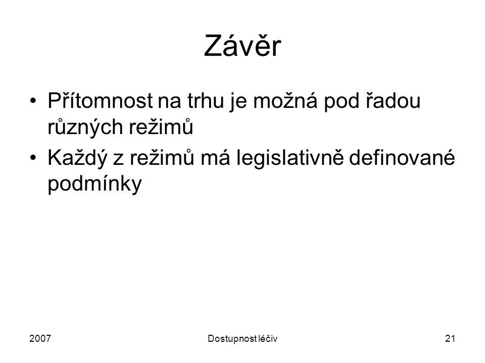 2007Dostupnost léčiv21 Závěr Přítomnost na trhu je možná pod řadou různých režimů Každý z režimů má legislativně definované podmínky