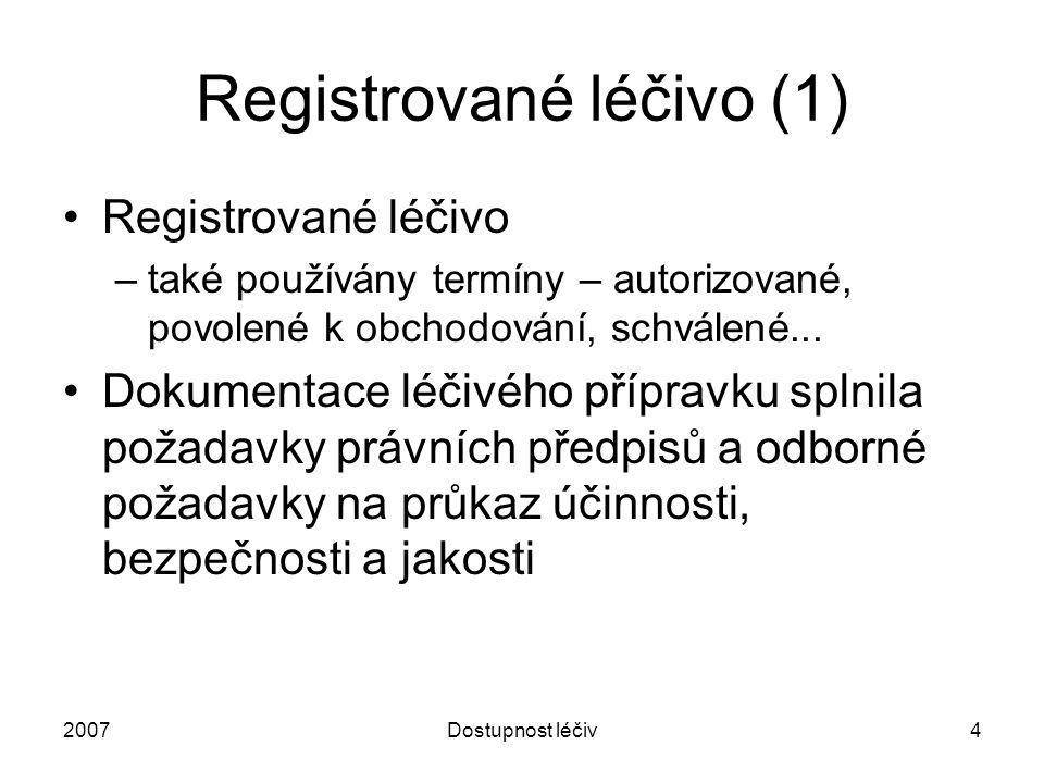 2007Dostupnost léčiv5 Registrované léčivo (2) Typy registrace: –Národní –Postupem vzájemného uznávání –Decentralizovaná registrace –Centralizovaná registrace