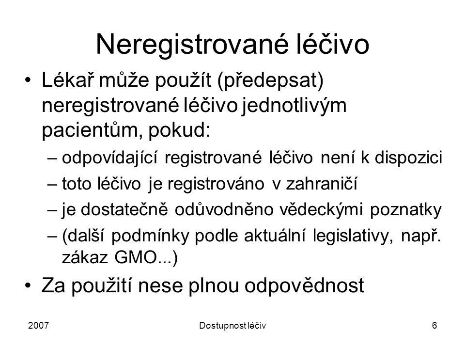 2007Dostupnost léčiv6 Neregistrované léčivo Lékař může použít (předepsat) neregistrované léčivo jednotlivým pacientům, pokud: –odpovídající registrova