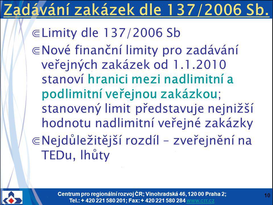 Centrum pro regionální rozvoj ČR; Vinohradská 46, 120 00 Praha 2; Tel.: + 420 221 580 201; Fax: + 420 221 580 284 www.crr.czwww.crr.cz 10 Zadávání zakázek dle 137/2006 Sb.