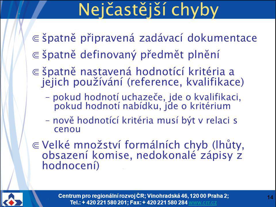 Centrum pro regionální rozvoj ČR; Vinohradská 46, 120 00 Praha 2; Tel.: + 420 221 580 201; Fax: + 420 221 580 284 www.crr.czwww.crr.cz 14 Nejčastější