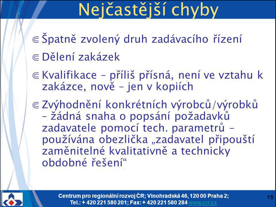 Centrum pro regionální rozvoj ČR; Vinohradská 46, 120 00 Praha 2; Tel.: + 420 221 580 201; Fax: + 420 221 580 284 www.crr.czwww.crr.cz 15 Nejčastější