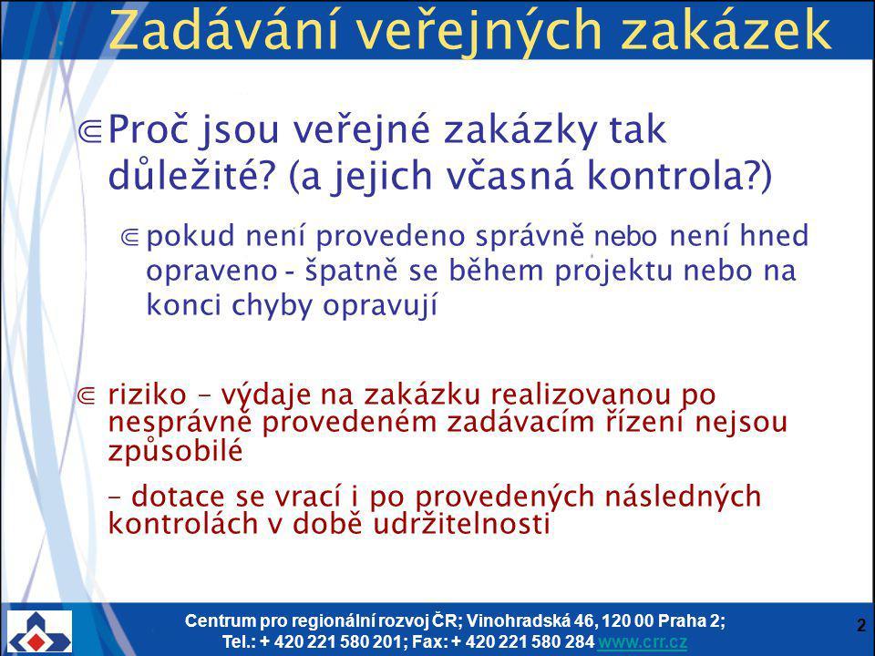 Centrum pro regionální rozvoj ČR; Vinohradská 46, 120 00 Praha 2; Tel.: + 420 221 580 201; Fax: + 420 221 580 284 www.crr.czwww.crr.cz 2 Zadávání veřejných zakázek ⋐Proč jsou veřejné zakázky tak důležité.