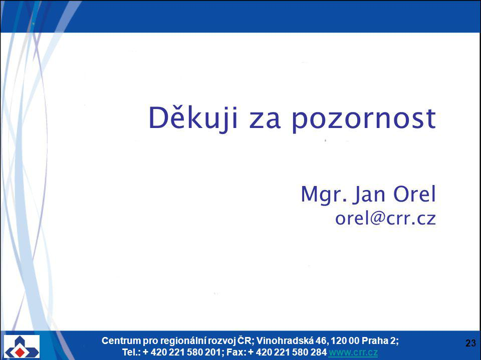 Centrum pro regionální rozvoj ČR; Vinohradská 46, 120 00 Praha 2; Tel.: + 420 221 580 201; Fax: + 420 221 580 284 www.crr.czwww.crr.cz 23 Děkuji za po