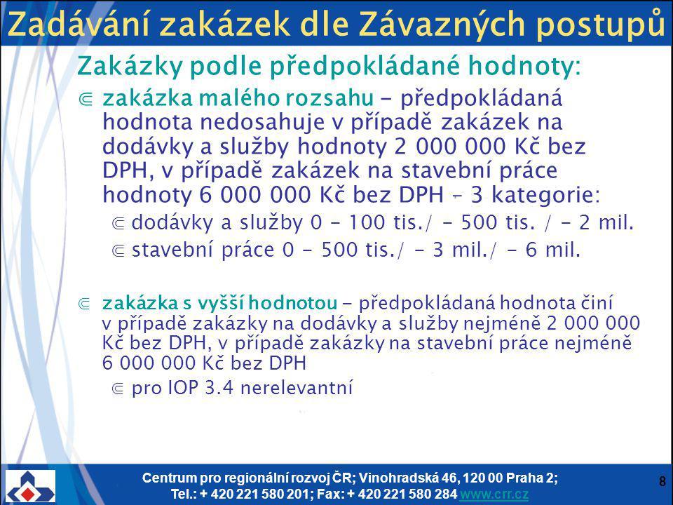Centrum pro regionální rozvoj ČR; Vinohradská 46, 120 00 Praha 2; Tel.: + 420 221 580 201; Fax: + 420 221 580 284 www.crr.czwww.crr.cz 8 Zakázky podle