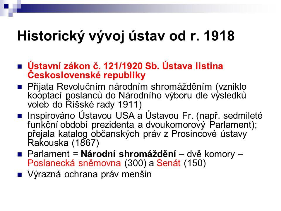 Historický vývoj ústav od r. 1918 Ústavní zákon č. 121/1920 Sb. Ústava listina Československé republiky Přijata Revolučním národním shromážděním (vzni
