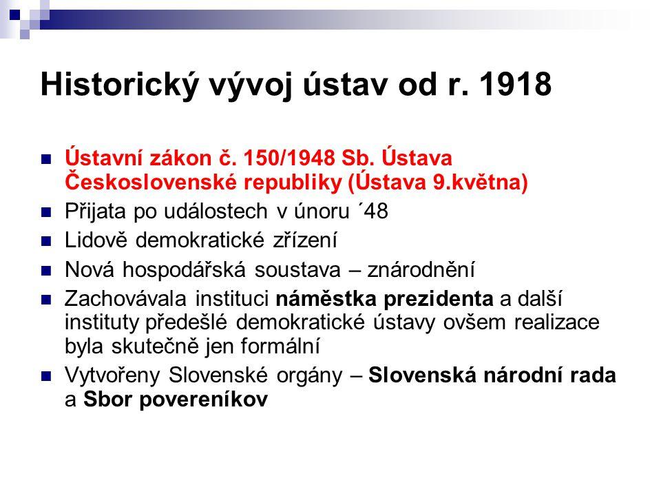 Historický vývoj ústav od r. 1918 Ústavní zákon č. 150/1948 Sb. Ústava Československé republiky (Ústava 9.května) Přijata po událostech v únoru ´48 Li