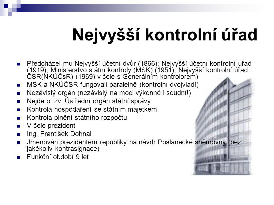 Nejvyšší kontrolní úřad Předcházel mu Nejvyšší účetní dvůr (1866); Nejvyšší účetní kontrolní úřad (1919); Ministerstvo státní kontroly (MSK) (1951); N