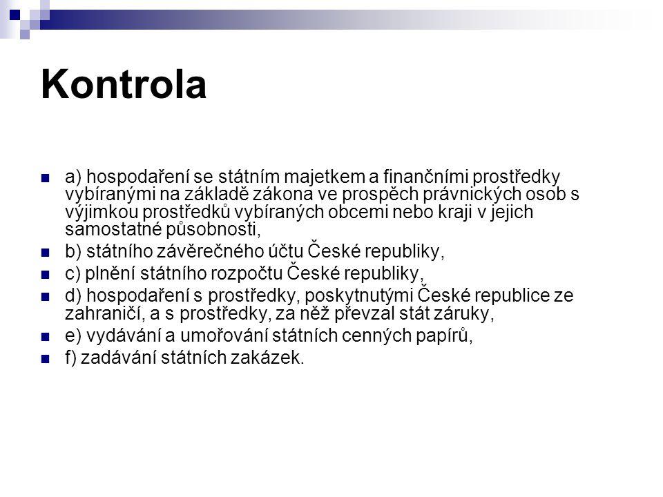 Kontrola a) hospodaření se státním majetkem a finančními prostředky vybíranými na základě zákona ve prospěch právnických osob s výjimkou prostředků vy
