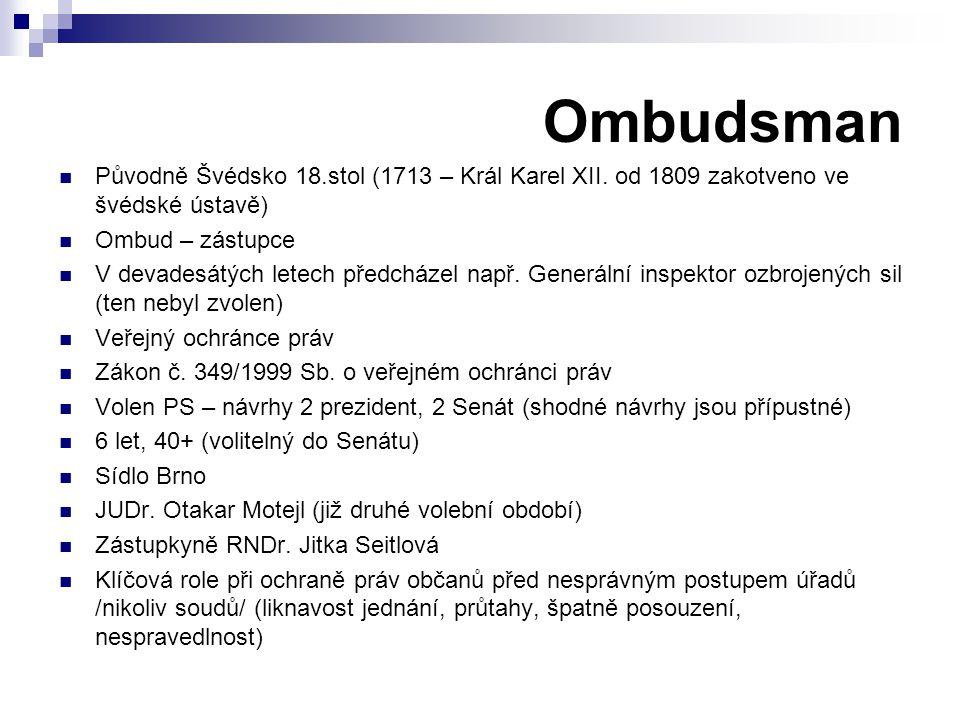 Ombudsman Původně Švédsko 18.stol (1713 – Král Karel XII. od 1809 zakotveno ve švédské ústavě) Ombud – zástupce V devadesátých letech předcházel např.