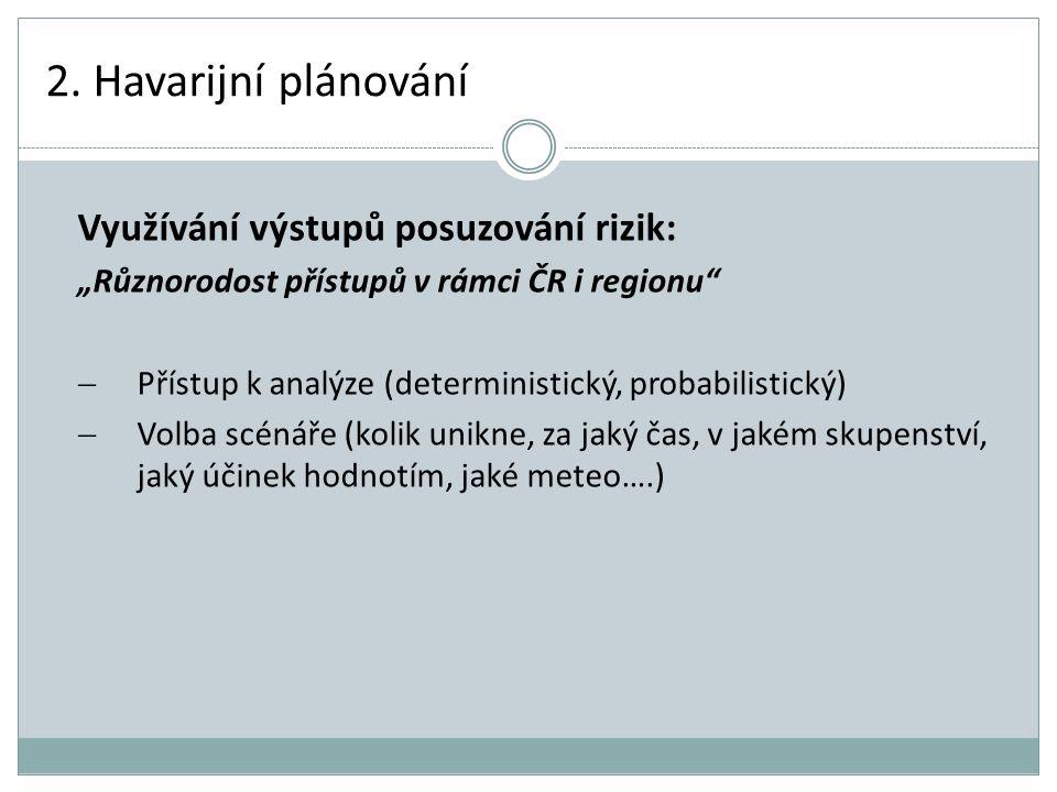 """2. Havarijní plánování Využívání výstupů posuzování rizik: """"Různorodost přístupů v rámci ČR i regionu""""  Přístup k analýze (deterministický, probabili"""