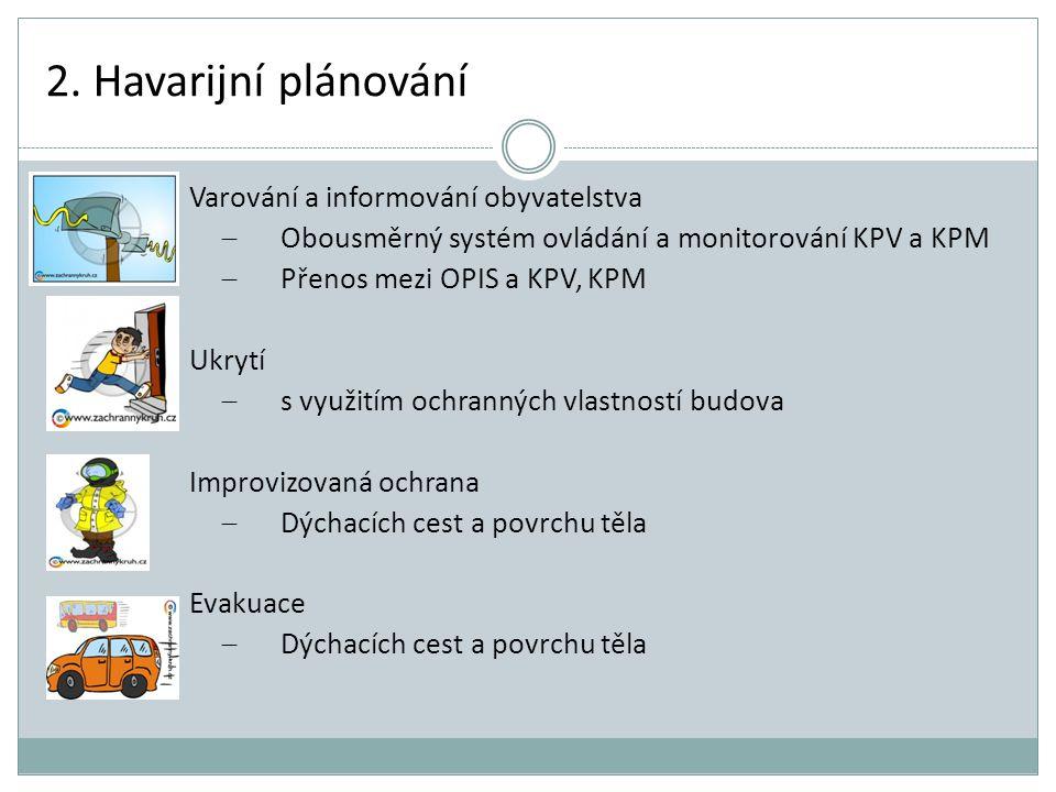 2. Havarijní plánování Varování a informování obyvatelstva  Obousměrný systém ovládání a monitorování KPV a KPM  Přenos mezi OPIS a KPV, KPM Ukrytí
