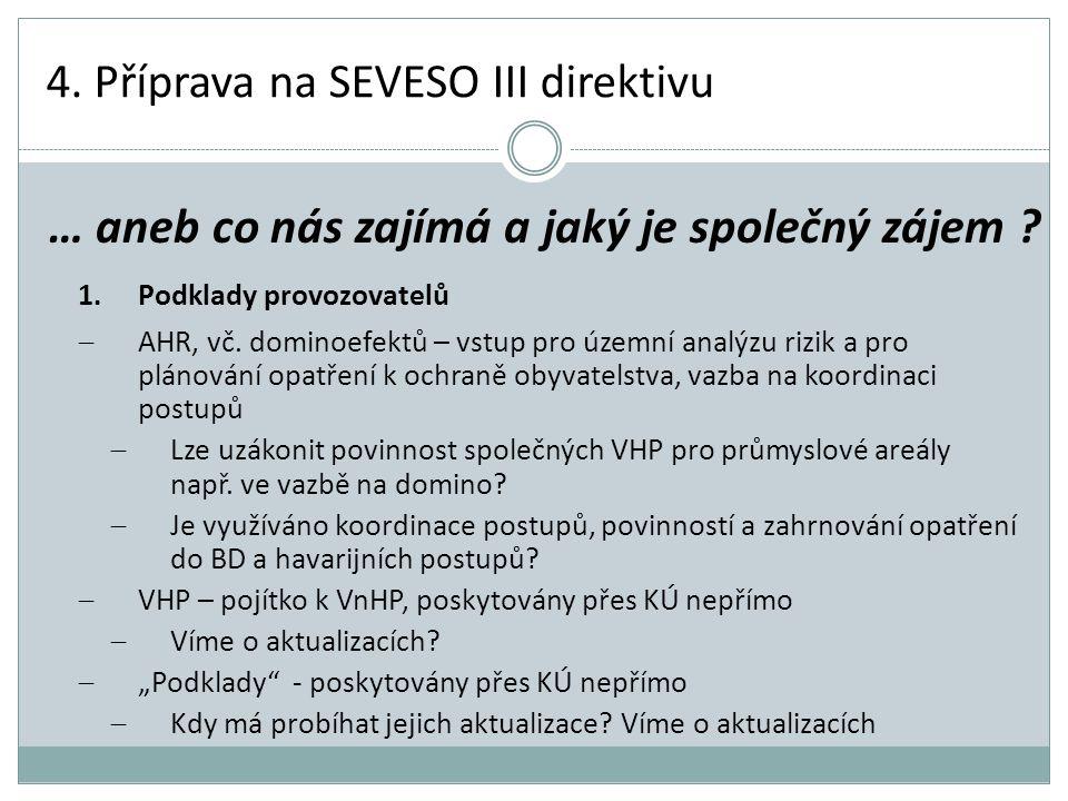 4. Příprava na SEVESO III direktivu 1.Podklady provozovatelů  AHR, vč. dominoefektů – vstup pro územní analýzu rizik a pro plánování opatření k ochra
