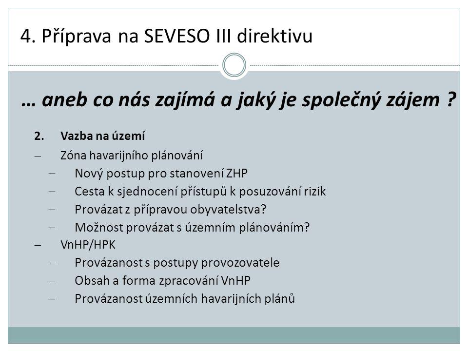 4. Příprava na SEVESO III direktivu 2.Vazba na území  Zóna havarijního plánování  Nový postup pro stanovení ZHP  Cesta k sjednocení přístupů k posu