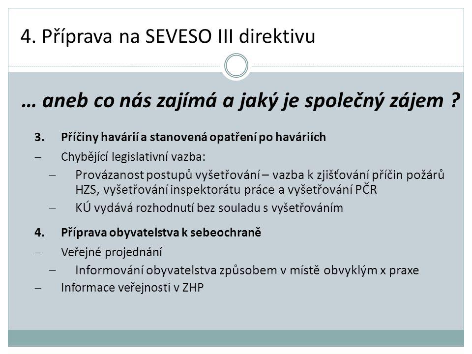 4. Příprava na SEVESO III direktivu 3.Příčiny havárií a stanovená opatření po haváriích  Chybějící legislativní vazba:  Provázanost postupů vyšetřov