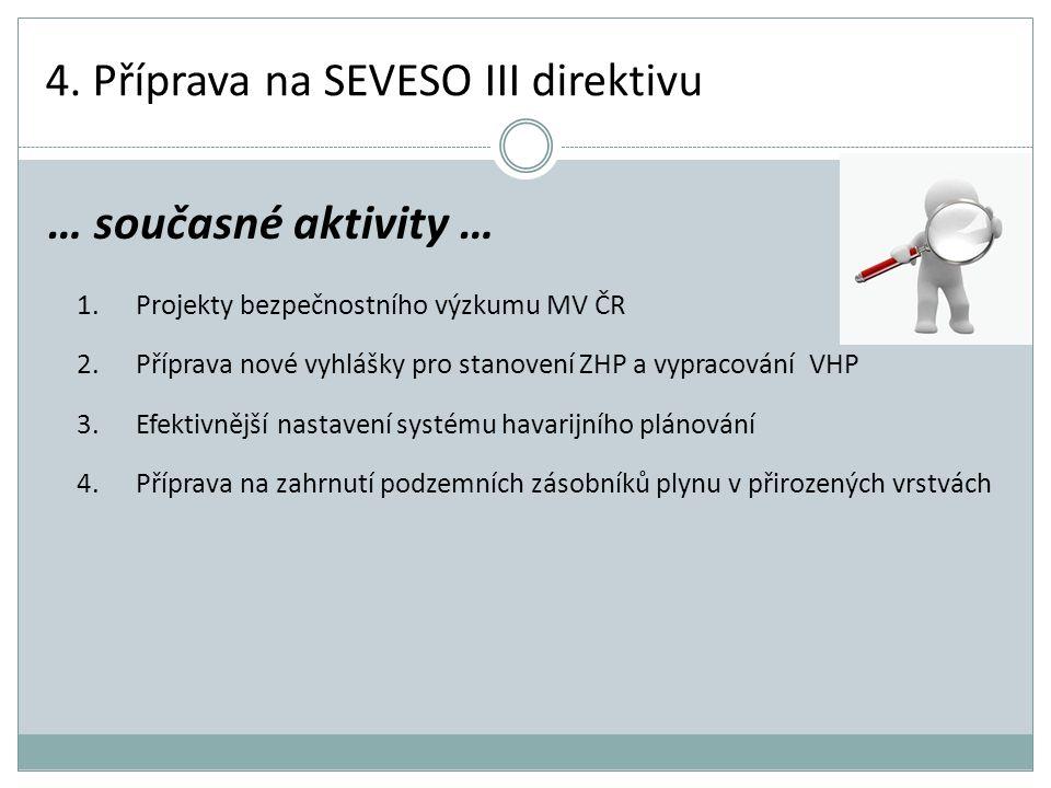 4. Příprava na SEVESO III direktivu 1.Projekty bezpečnostního výzkumu MV ČR 2.Příprava nové vyhlášky pro stanovení ZHP a vypracování VHP 3.Efektivnějš