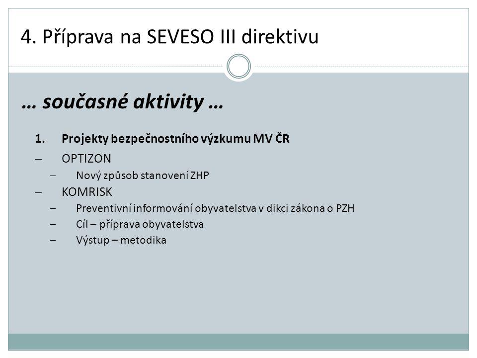 4. Příprava na SEVESO III direktivu 1.Projekty bezpečnostního výzkumu MV ČR  OPTIZON  Nový způsob stanovení ZHP  KOMRISK  Preventivní informování