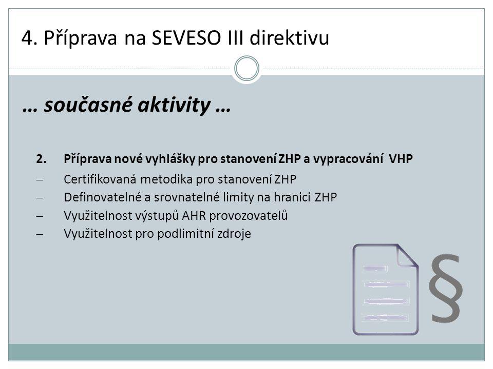 4. Příprava na SEVESO III direktivu 2.Příprava nové vyhlášky pro stanovení ZHP a vypracování VHP  Certifikovaná metodika pro stanovení ZHP  Definova