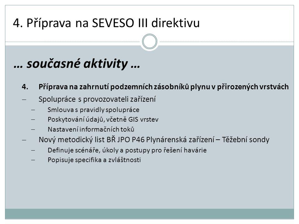 4. Příprava na SEVESO III direktivu 4.Příprava na zahrnutí podzemních zásobníků plynu v přirozených vrstvách  Spolupráce s provozovateli zařízení  S