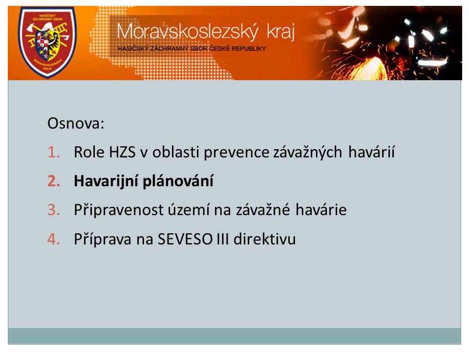 Osnova: 1.Role HZS v oblasti prevence závažných havárií 2.Havarijní plánování 3.Připravenost území na závažné havárie 4.Příprava na SEVESO III direkti
