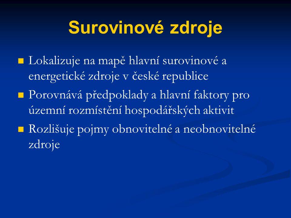Surovinové zdroje Lokalizuje na mapě hlavní surovinové a energetické zdroje v české republice Porovnává předpoklady a hlavní faktory pro územní rozmís