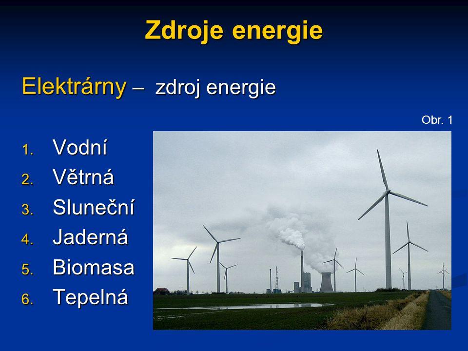 Zdroje energie Elektrárny – zdroj energie 1. Vodní 2. Větrná 3. Sluneční 4. Jaderná 5. Biomasa 6. Tepelná Obr.1
