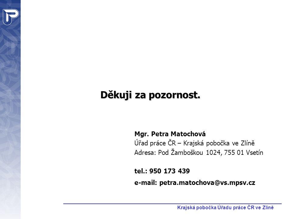 Krajská pobočka Úřadu práce ČR ve Zlíně Děkuji za pozornost. Mgr. Petra Matochová Úřad práce ČR – Krajská pobočka ve Zlíně Adresa: Pod Žamboškou 1024,