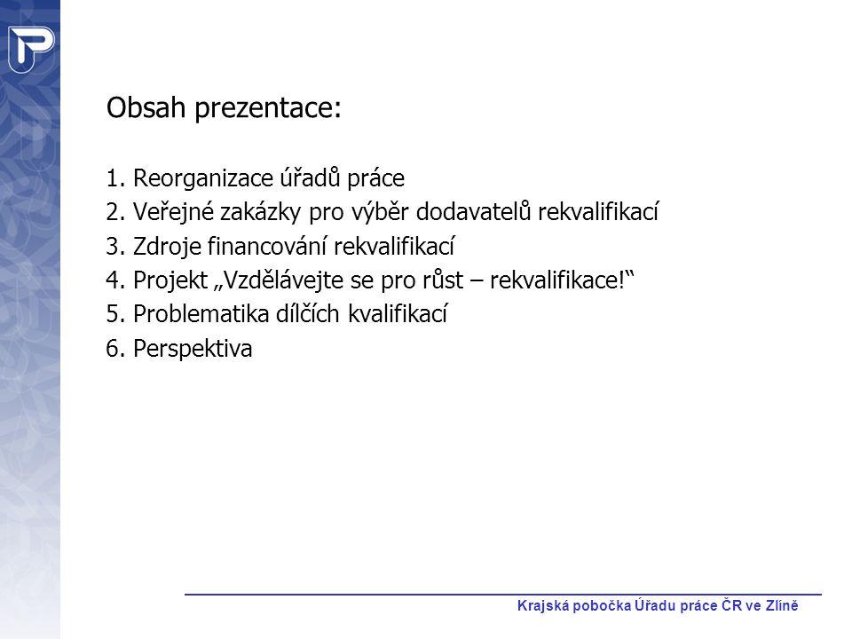 Krajská pobočka Úřadu práce ČR ve Zlíně Obsah prezentace: 1. Reorganizace úřadů práce 2. Veřejné zakázky pro výběr dodavatelů rekvalifikací 3. Zdroje