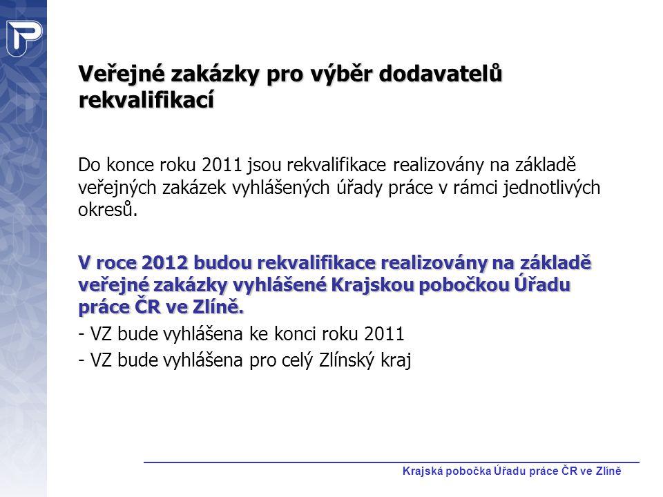 Krajská pobočka Úřadu práce ČR ve Zlíně Veřejné zakázky pro výběr dodavatelů rekvalifikací Do konce roku 2011 jsou rekvalifikace realizovány na základ