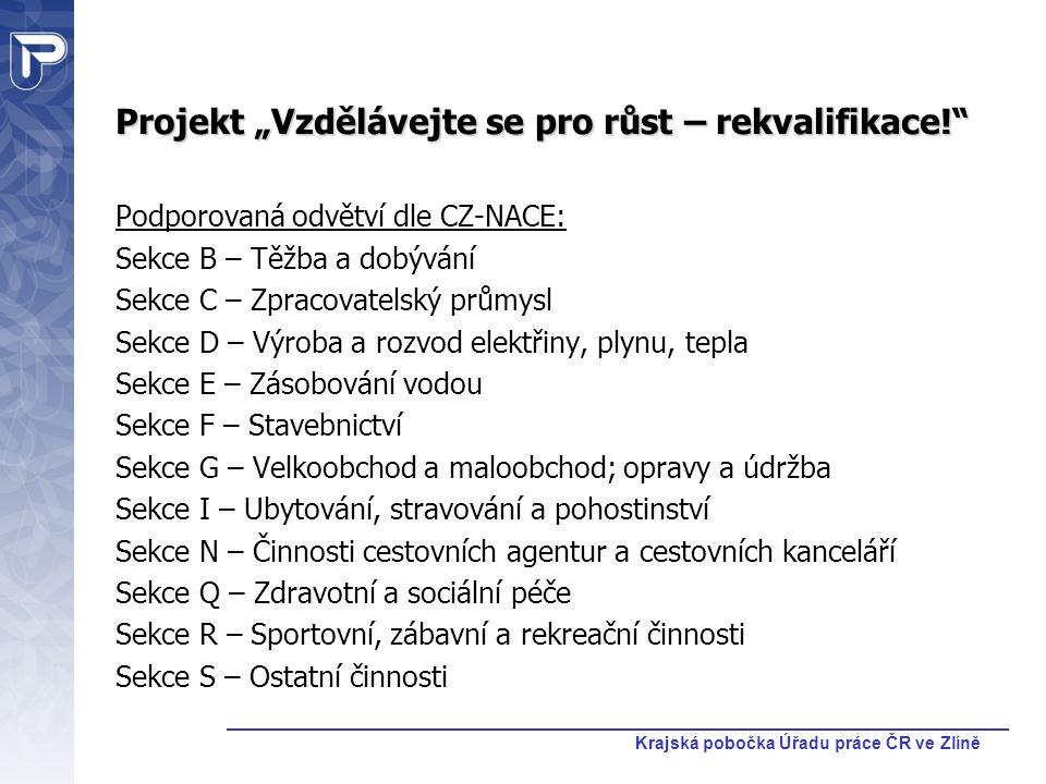 """Krajská pobočka Úřadu práce ČR ve Zlíně Projekt """"Vzdělávejte se pro růst – rekvalifikace!"""" Podporovaná odvětví dle CZ-NACE: Sekce B – Těžba a dobývání"""