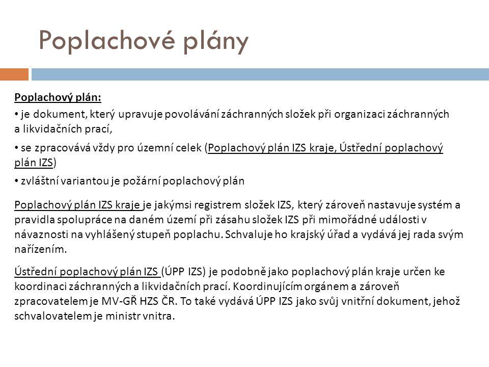 Poplachové plány Poplachový plán: je dokument, který upravuje povolávání záchranných složek při organizaci záchranných a likvidačních prací, se zpraco