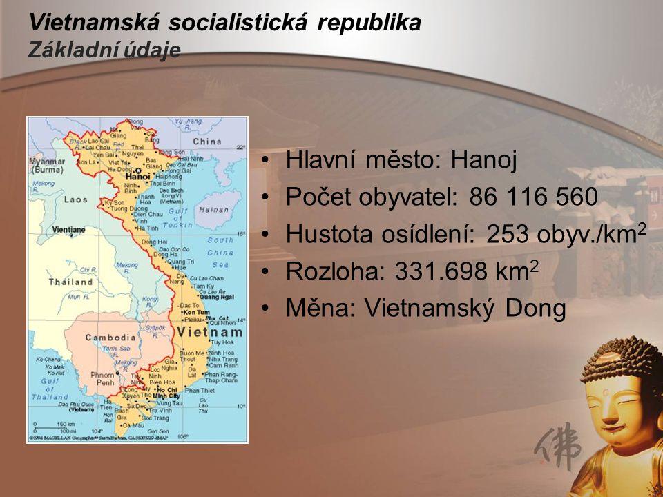 Vietnamská socialistická republika Základní údaje Hlavní město: Hanoj Počet obyvatel: 86 116 560 Hustota osídlení: 253 obyv./km 2 Rozloha: 331.698 km
