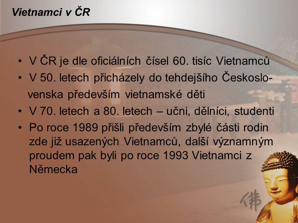 Vietnamci v ČR V ČR je dle oficiálních čísel 60. tisíc Vietnamců V 50. letech přicházely do tehdejšího Českoslo- venska především vietnamské děti V 70