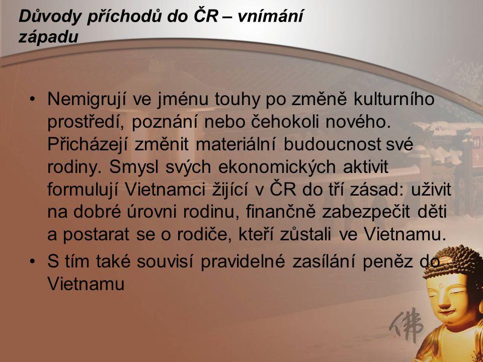 Důvody příchodů do ČR – vnímání západu Nemigrují ve jménu touhy po změně kulturního prostředí, poznání nebo čehokoli nového. Přicházejí změnit materiá