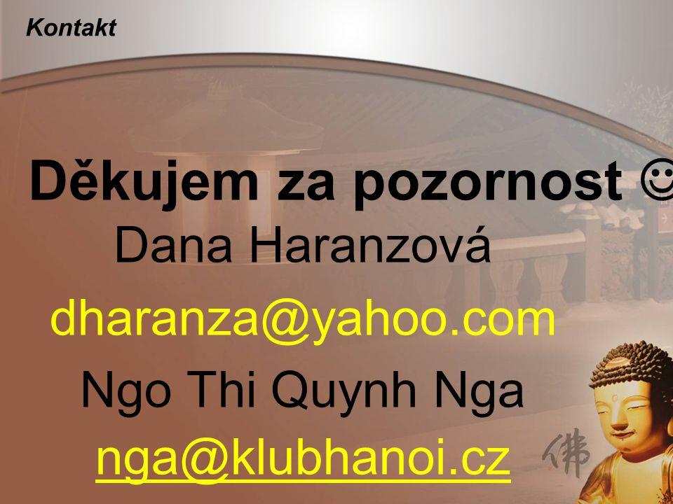 Kontakt Dana Haranzová dharanza@yahoo.com Ngo Thi Quynh Nga nga@klubhanoi.cz Děkujem za pozornost