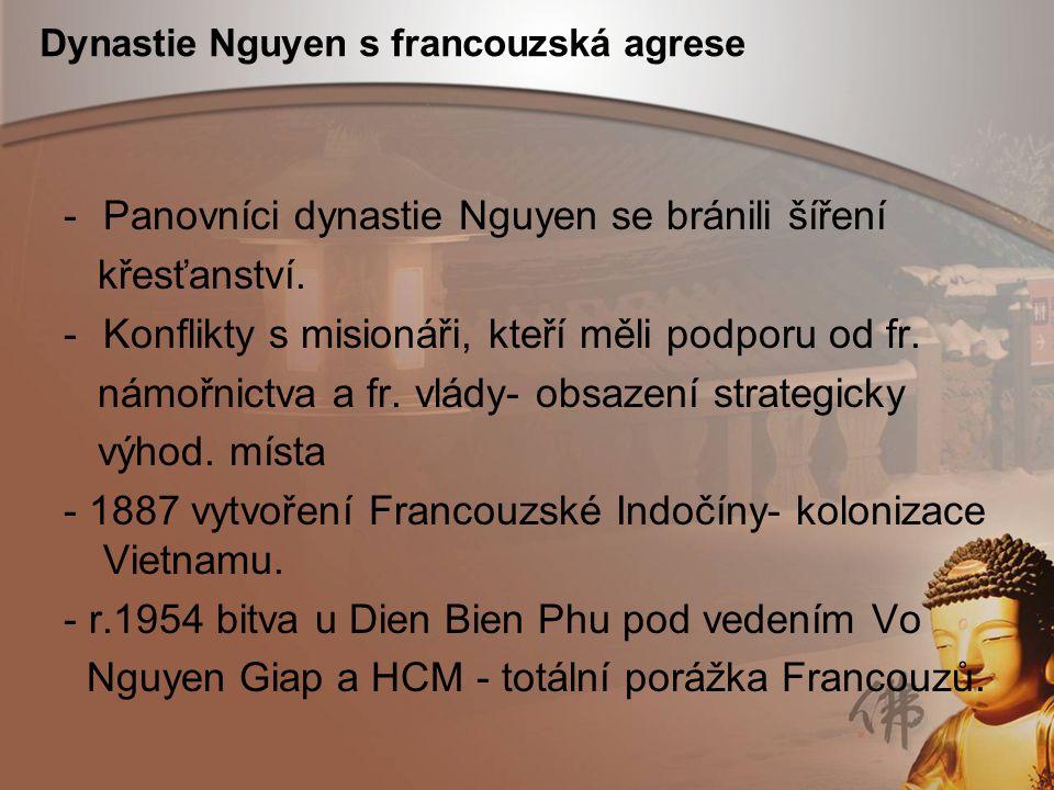 Dynastie Nguyen s francouzská agrese -Panovníci dynastie Nguyen se bránili šíření křesťanství. -Konflikty s misionáři, kteří měli podporu od fr. námoř
