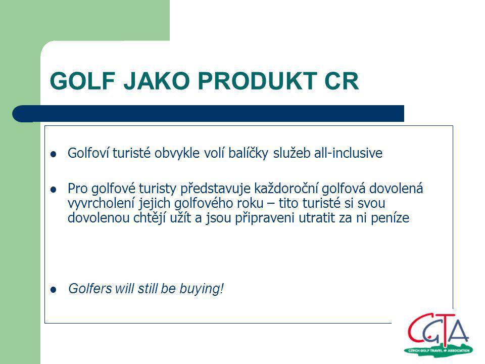 GOLF JAKO PRODUKT CR Naše slabá stránka v porovnání s nejvýznamnějšími golfovými destinacemi: