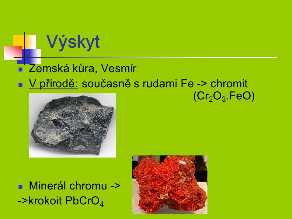 Výskyt Zemská kůra, Vesmír V přírodě: současně s rudami Fe -> chromit (Cr 2 O 3.FeO) Minerál chromu -> ->krokoit PbCrO 4