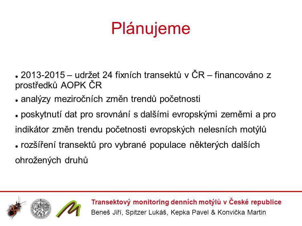 Plánujeme 2013-2015 – udržet 24 fixních transektů v ČR – financováno z prostředků AOPK ČR analýzy meziročních změn trendů početnosti poskytnutí dat pr