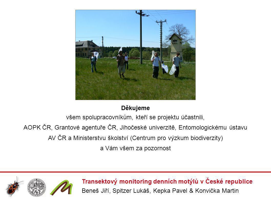 Transektový monitoring denních motýlů v České republice Beneš Jiří, Spitzer Lukáš, Kepka Pavel & Konvička Martin Děkujeme všem spolupracovníkům, kteří