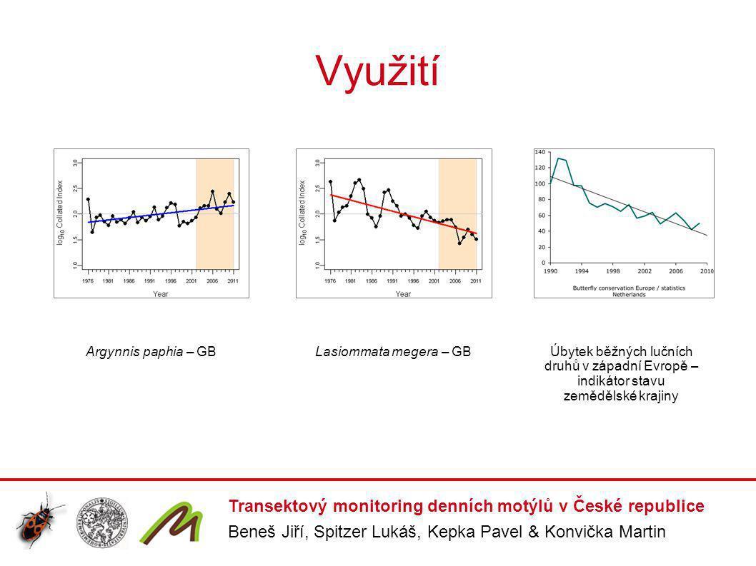 Transektový monitoring v Česku 24 fixních linií, délka transektů 1200 – 4590 m (průměr 2235 m), v místě bydliště nebo působiště mapovatele mapovatel si umístění transektu volí sám umístění transektu – nejčastěji běžná venkovská krajina při okraji menší obce metodika – obdobná jako v dalších evropských zemích 12 návštěv od dubna do září transekt rozčleněn do segmentů podle 9 základních typů biotopů během pochůzky na linii zaznamenány absolutní počty imág všech denních motýlů (Rhopalocera) a vřetenuškovitých (Zygaenidae) pro každý segment transektu determinačně náročné druhy (např.