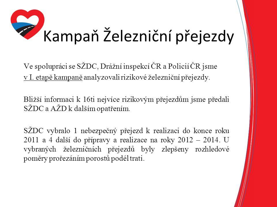 Kampaň Železniční přejezdy Ve spolupráci se SŽDC, Drážní inspekcí ČR a Policií ČR jsme v I. etapě kampaně analyzovali rizikové železniční přejezdy. Bl