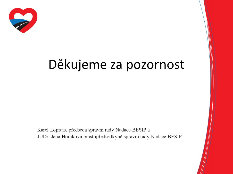Děkujeme za pozornost Karel Loprais, předseda správní rady Nadace BESIP a JUDr. Jana Horáková, místopředsedkyně správní rady Nadace BESIP